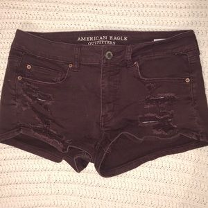 Maroon distressed American Eagle shorts